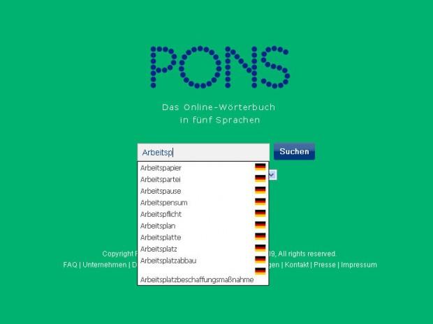 Diccionario alemán Pons